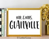 Mr. & Mrs. Glanville - Bachelorette Party Decoration - Wedding Printable Art - Digital Print - Home Decor - Bridal Shower Gift