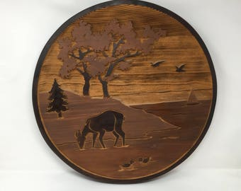 Carved Cedar plaque wall hanging , a beautiful art piece