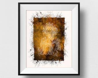 Hanuman Painting, Hanuman Wall Art, Hanuman Print, Yoga Decor, Spiritual India Print, Indian God Home Decor, Watercolor Hanuman (N536)