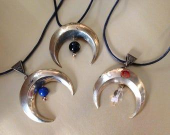 Pendant Moonstone or lunula solid brass with onyx, lapis lazuli and carnelian bead.