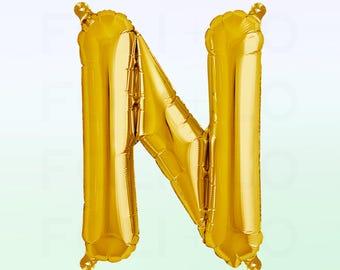 Metallic Gold Letter N Balloon | Gold N Balloon | Gold Letter N Balloon | Jumbo Letter N Balloon