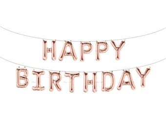 HAPPY BIRTHDAY Rose Gold Letter Balloons | Metallic Letter Balloons | Rose Gold Party Decorations