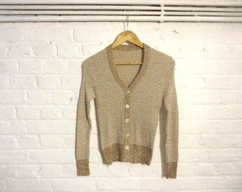 Vintage glam gold and white lurex shiny knit cardigan jumper - UK 8 EU 36 US 4