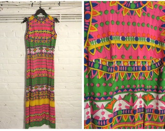 1960s vintage fitted maxi dress with colourful funky print - UK 8 EU 36 US 4 - Sixties Sixties Mod Boho Bohemian
