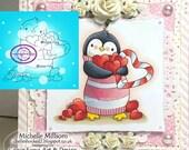 Digital Stamp, Digi Stamp, digistamp, Penguin Bundle of Love, Valentine's, Mother's Day, Birthday, Christmas, Hearts, Coloring Page