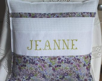 Hand embroidered pillow cover / honeycomb / purple sleigh solo to order