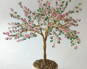 Beaded sakura tree - symbol of tenderness and youth/ Tree of luck