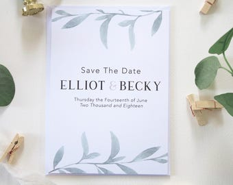Elliot + Becky Save The Date | Save The Date | Botanical Wedding Invitation Set | Greenery Wedding Suite | Watercolour Wedding Stationery