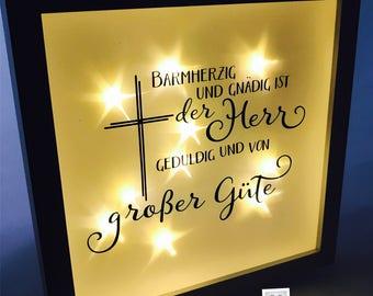 Light frame, lighted frame, baptism, Church, God, faith