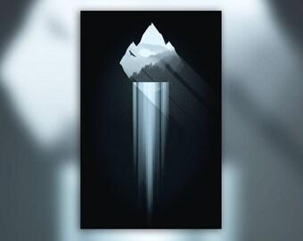 Mountain View Waterfall Print - Minimal Forest Poster - Sunbeam Falls - Hiking & Climbing Decor - Wall Art Graphic Design