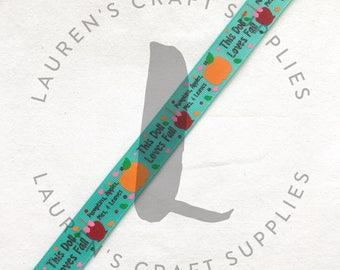 "Pumpkin Spice Ribbon | I Love Fall Ribbon | Scarecrow Ribbon | Autumn Ribbon | Hairbow Ribbon | US Designer Ribbon | 7/8"" Ribbon | Grosgrain"