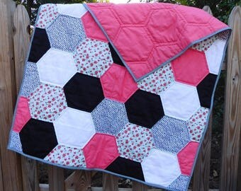 Bold and Beautiful Hexi Quilt- Baby Quilt- Toddler Quilt