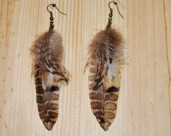 1 pair of earrings feathers Faisansbecasse-1pair Brown/copper/beige/white/bronze - Unique Piece-