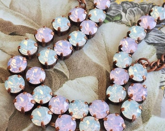 SHORT-CAKE Swarovski 8mm jewelry set - necklace, bracelet, and drop earrings - with pink and white opal in a copper setting