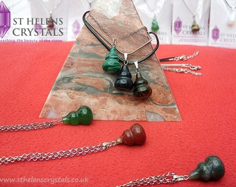 Crystal Jewellery-Carved Chinese Gourd Gemstone Crystal Healing Pendant necklace by St Helens Crystals