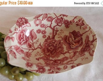SALE Johnson Brothers English Chippendale Red Transfer Oval Serving Bowl - Chipped