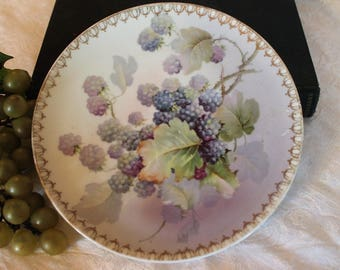 "Antique 8.5"" Plate with Hand Painted Blackberries - Austria, Porcelain"