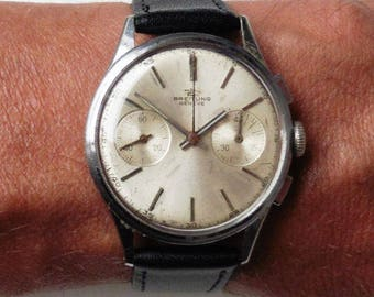 Rare 1950s Breitling Geneve Chrono SS Venus 188 Movt Watch Serviced + Warranty