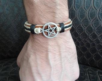 EXPRESS SHIPPING,Men's Star Bracelet,Camel Leather Bracelet,Star Symbol Bracelet,Adjustable Cuff Bracelet,Gift for Him,Christmas Gifts