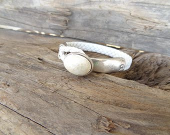 EXPRESS SHIPPING,White Braided Leather Bracelet,Mother of Pearl Stone Bracelet,Cuff Bracelet,Gifts for Girlfriend,Christmas Gifts