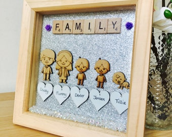 Family Frame 15cm x 15cm, Personalised Family Picture Frame, Family Keepsake, Gift for Parents, Personalised Family Gift, Family Gift Framed