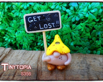 """Miniature """" GET LOST """" gnome! Handmade and one of a kind. Item # S356"""
