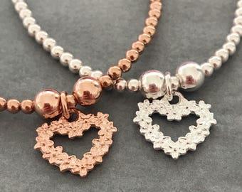 Sterling Silver/Rose Gold Flower Heart Charm Bracelet