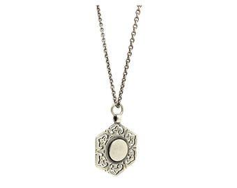 Antique Silver Necklace | Victorian 1887 Necklace | Silver Medallion | Pendant Necklace | Round Necklace | Antique Silver Pendant |