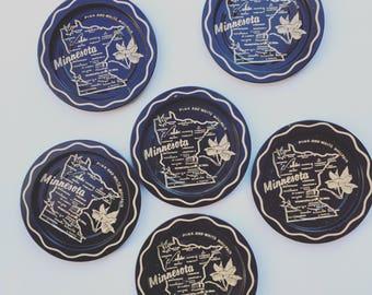 Set of 6 Black and Tan Minnesota Decorative Tin Coasters