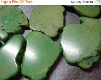 ON SALE 15% OFF Green Magnesite Turquoise Flat Freeform Beads 5pcs