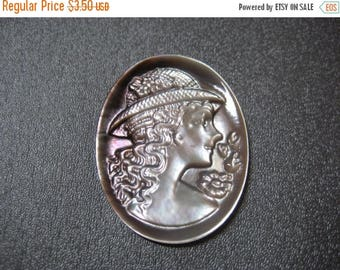 ON SALE 15% OFF Mother of Pearl Cameo Cabochon 1pcs 40x30mm