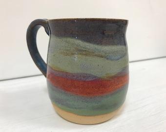 Stoneware mug - pottery mug - colourful mug - handmade pottery coffee mug - wheel thrown mug