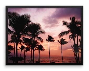 Palms At Sunset Photography Print   Wall Art   Sea   Beach   Palm Trees   Cheap Art Prints   Large Wall Art   Poster   Nature Art   Boho