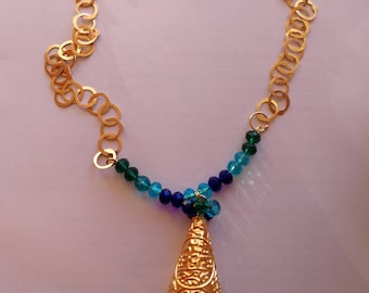 gold plated necklace, earrings and ring