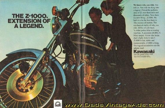 1976 Kawasaki Z-1000. Extension of a legend 2-Page Ad #e76la05