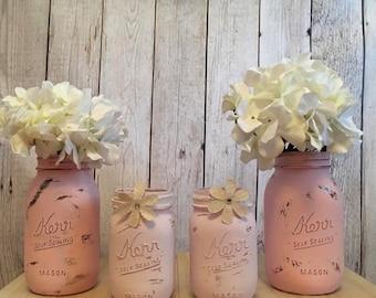 Pink Mason Jar Set