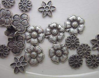 56 Vintage Antiqued-Silver Brass Stampings, Mixed Lot Flowers, 5mm-8mm