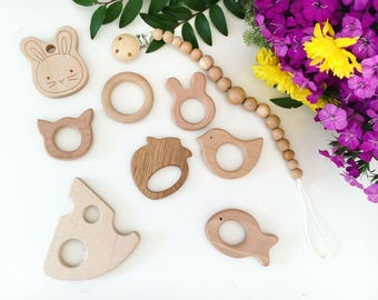Pacifier Clip wooden teether toy baby toy clips teething cute toy Babyshower gift