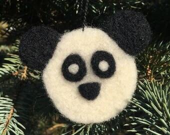 Needle Felted Panda Bear Ornament, Needle Felted Panda Bear Decoration, Needle Felted Panda Bear