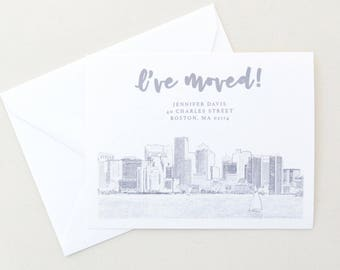 Change of Address - Boston - Boston Skyline - Moving Announcements - Grey Outline