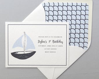 Sailboat Invitation - Birthday Boy - Wedding Shower Invitation - Printed A7 5x7 Invitation - Navy Blue Sailboat