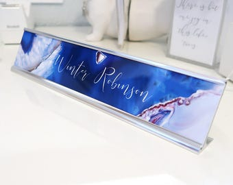 "Custom Agate Nameplate ""Winter"" - Personalized Desk Name Plate Sign Decor - Office Accessories - Cute Cubicle Decoration"