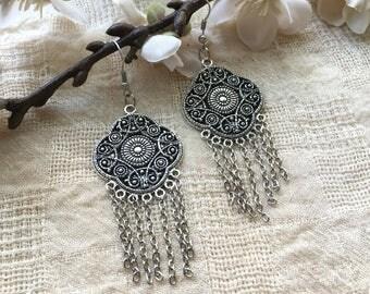 Silver Ethnic Earrings - Silver Earrings - Tribal Earrings - Boho Earrings - Dangle Earrings - Ethnic - Chandelier Earrings - Bohemian