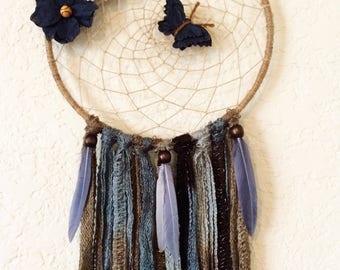 Boho Dreamcatcher, Blue Dreamcatcher, Floral Dreamcatcher, Rustic Decor, Boho Decor, Butterfly Dreamcatcher, Housewarming Gift, Boho Chic