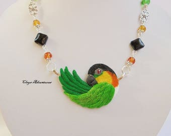 Caique  necklace, hand sculpted, polymer clay parrot.