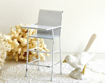 vintage toy doll high chair highchair small white metal high chair doll play