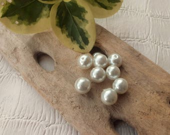 Set of 10 glass beads 10mm White Pearl