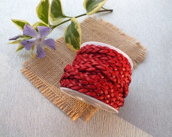 50cm width 7mm red braided leather cord