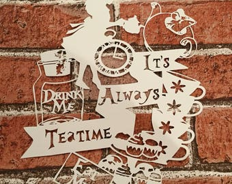 Alice in wonderland papercut, alices tea party, mad hatter, cheshire cat, magical, alice papercut, fairy tale, hand cut