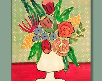 original folk art Colorful floral abstract Bold wall art Acrylic floral folk art Floral still life by RKMJCreations